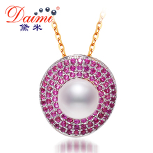 Daimi 9-10mm Natural White Pearl Tendy Pendant & Shinny Purple Crystal Freshwater Pearl Pendant Necklace(China (Mainland))