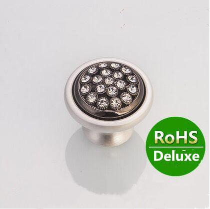 Fashion deluxe diamond furniture decoration knobs silver white drawer cabinet knob handle k9 crystal / black dresser pull  knob<br><br>Aliexpress