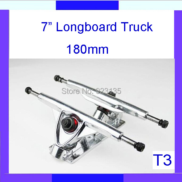 "Longdream T3 Brand New Silver Plated 180mm Skateboard Longboard Downhill Truck 7"" (2 pcs Set )(China (Mainland))"