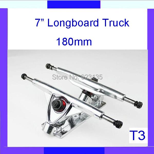 "Longdream T3 Brand New Silver Plated 180mm Skateboard Longboard Downhill Truck 7"" (2 pcs Set )(China (Mainland))"