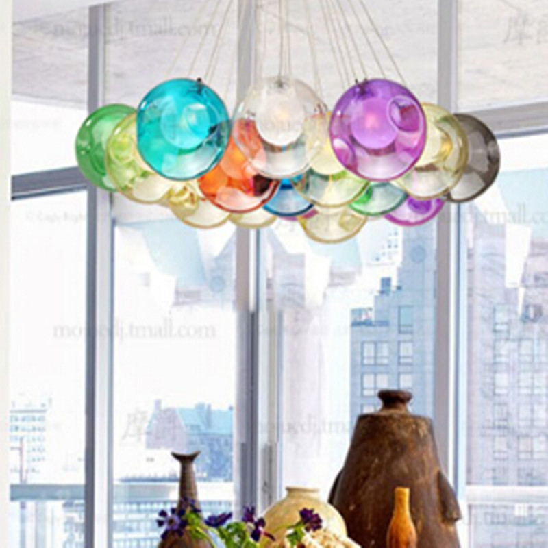 Creative DIY Candy Colors Crystal Glass Pendant Light For