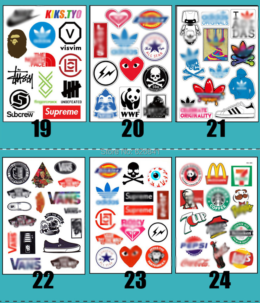 Laptop Skin sticker Brand fashion 90 pieces waterproof computer/luggage/motorcycles/skateboards/car stickers - Miss CZ home decor store