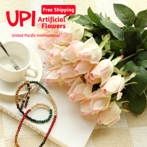 1 Artificial Flowers Real Touch White Rose Decorative Wedding Home Party Birthday Decorations  -  Union Pacific International Trading Ltd. store