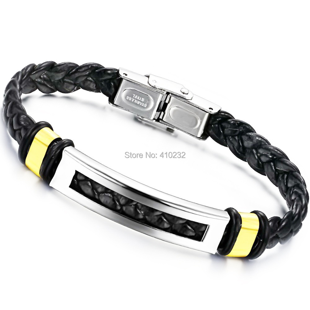 fashion men's jewelry Fashion Stainless Steel Men Bracelet PU leather Bracelets Bangles - Sunshine Jewelry Co.,Ltd(min order 15USD store)