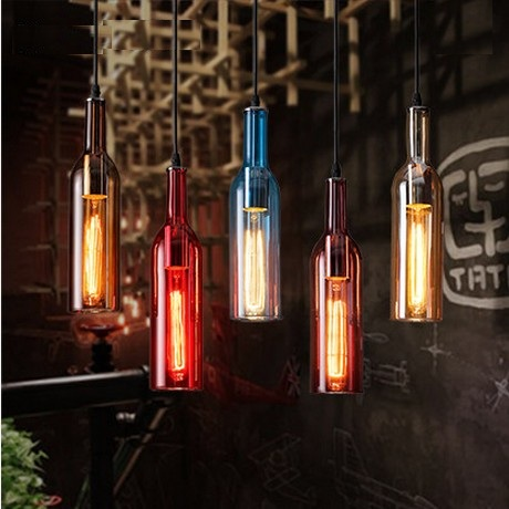 Фотография Edison Loft Style Glass Bottle Droplight Simple Vintage Pendant Light Fixtures For Dining Room Hanging Lamp Indoor Lighting