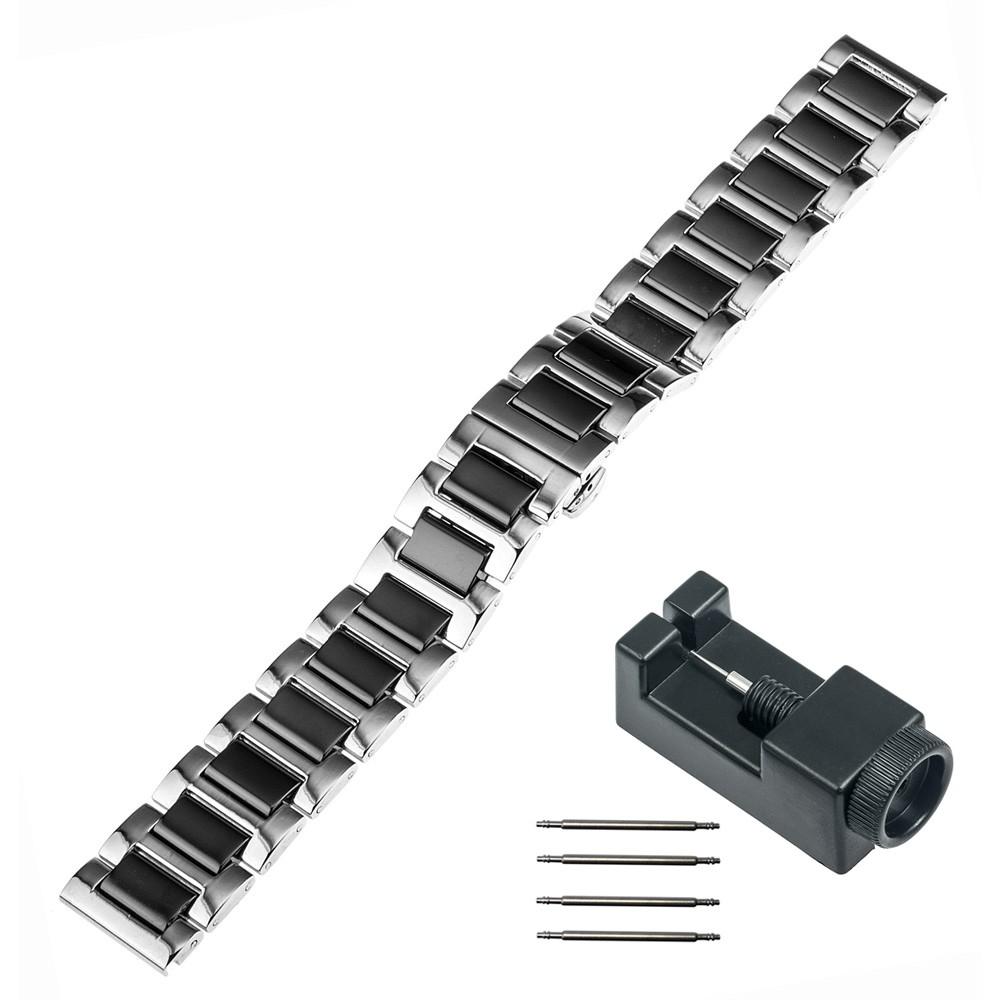 18 мм Керамические и Браслет Из Нержавеющей Стали для Asus ZenWatch 2 женщины WI502Q 45 мм Huawei Watch Ремешок Бабочка Пряжка Ремень + инструменты