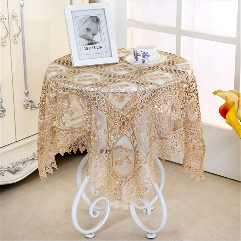 Wit 85 85cm Embroidery Table Cloth Banquet Rectangular Table Cloth Floral Coffee Table Cover