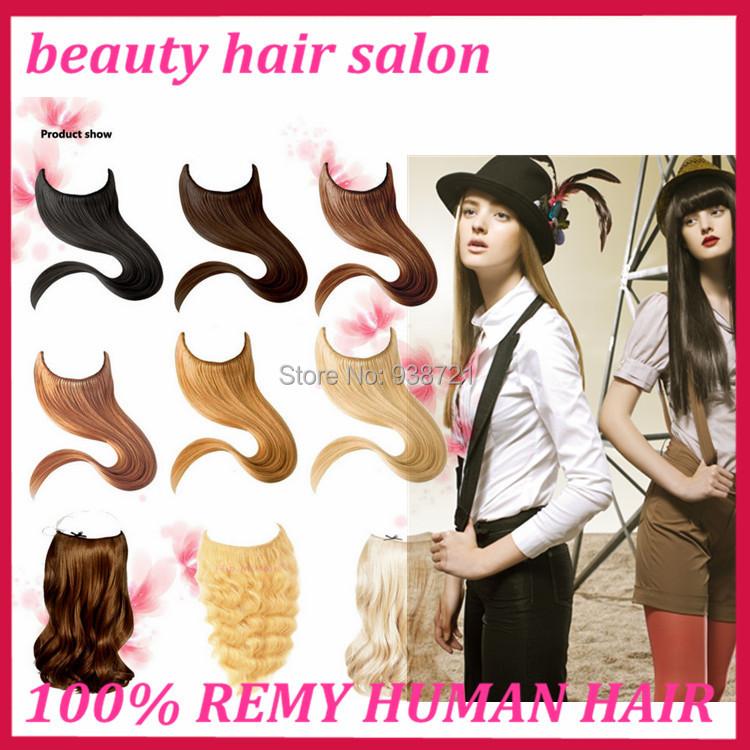 Hot Selling Halo Hair Pieces Flip in Hair Extension, 8-30 #1b,#2,#4,#613 8A Brazilian Hair 1pc 100g, Natural Himan Hair #613<br><br>Aliexpress