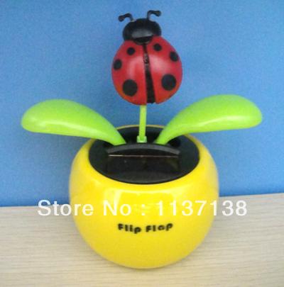 Wholesale 10Pcs Per Lot Magic Cute Lady Bug Leaves Dancing Flip Flap Solar Flower Car Decoration(China (Mainland))