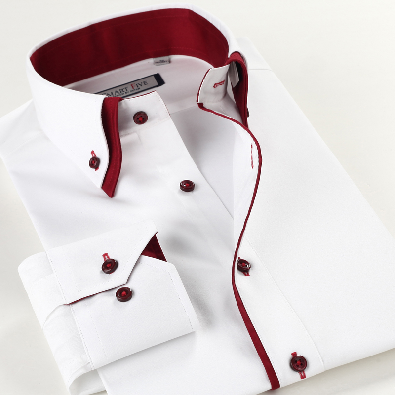 Smartfive autumn white shirt male slim double collar business casual long-sleeve - Online Store 838946 store