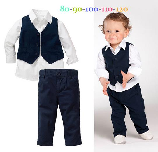 Фотография 2015 New Autumn Long Sleeve Fashion Gentlemen Boys Clothes Sets ( Boys shirts + Vest + Pants )  Kids Boys 3pcs Set 2 to 6Years