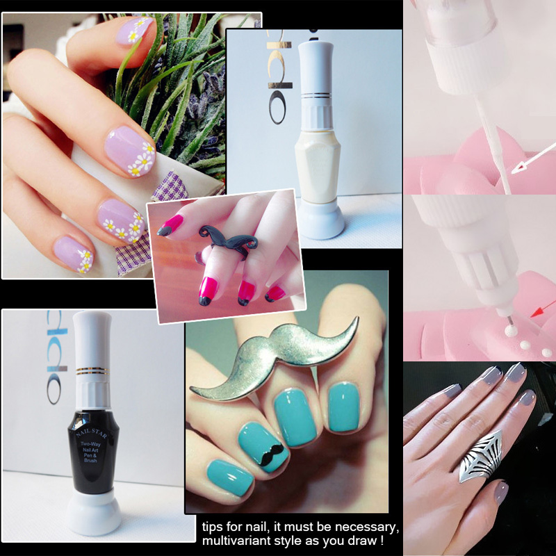 nail art supplier 2 in 1 3D tips nail polish pen brush for design dual purpose paint drawing point pin for painting(China (Mainland))