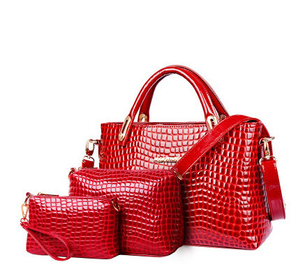 2015 Genuine Leather Women Handbag Alligator Bag Cowhide Women Tote Vintage Female bag Handbag+Messenger Bag+Purse 3 Sets BH575(China (Mainland))
