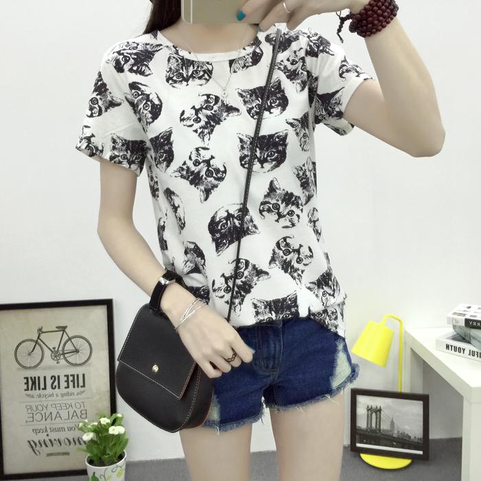 Бесплатная доставка 2016 летний новый женская мода футболка корейский сладкий кот печатных дамы с коротким рукавом заводские магазины