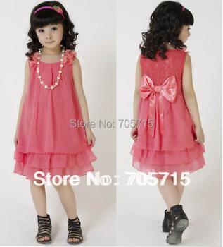 Retail Free shipping Summer kids dresses,children dresses,girls bowknot chiffon dresses