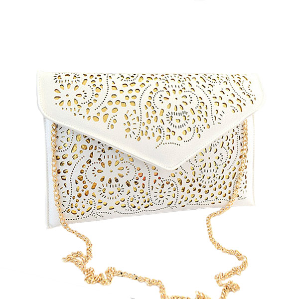 Hot New 2015 Hollow chain envelope bag neon color cutout fashion PU candy color day clutch women's messenger bags Free Shipping(China (Mainland))