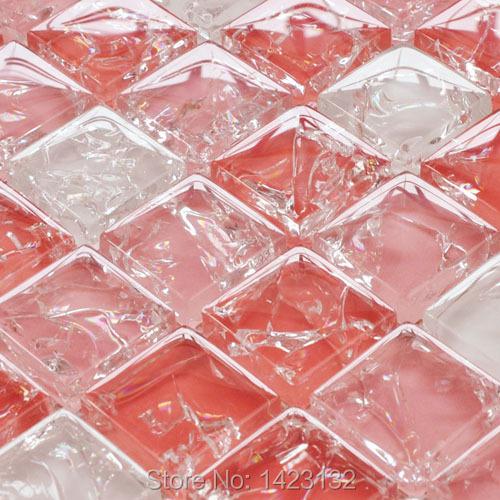 Crackle glass tile backsplash kitchen pink ice cracked for Cracked mirror tiles