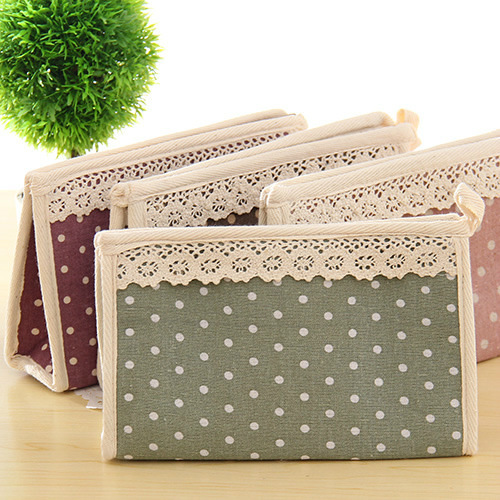 Zakka Cotton Cloth Lace Cosmetic Bags Cosmetic Bag Mobile Phone Purse Storage Bags 0046(China (Mainland))