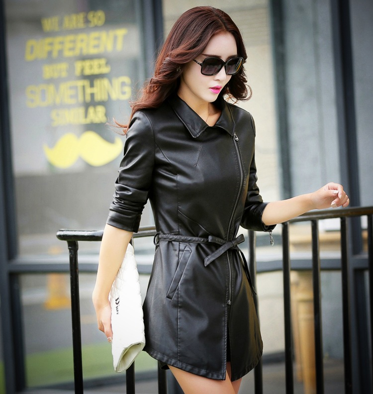 2015 new autumn and winter and cool slim leather PU Madden major suit in the long leather coat jacket