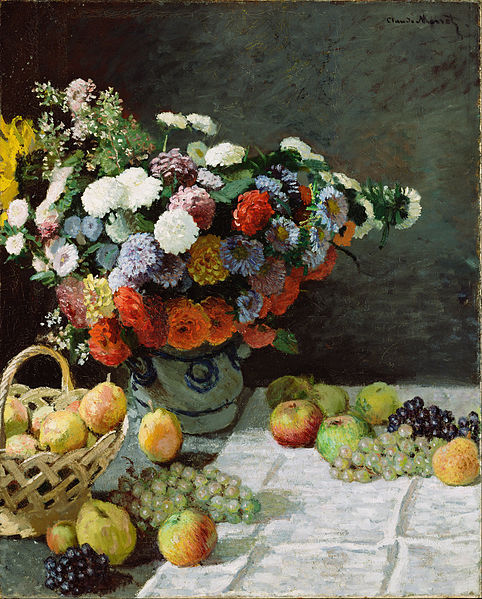 Canvas Art Prints Stretched Framed Giclee World Famous Artist Oil Painting Claude Monet French Still Life Flowers Fruit(China (Mainland))