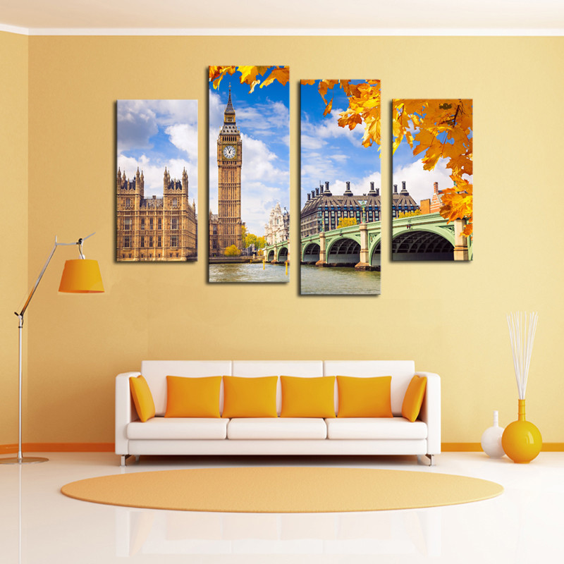 Buy Framed Art 4 Pcs Classical Building Landscape Wall Art Picture Home