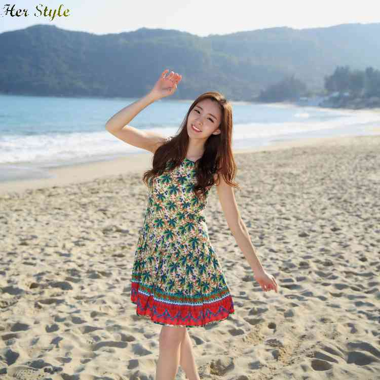Free Shipping new stomacher 2015 summer long tropical tree wind Palace in printing color fashion resort dresses 1431781975(China (Mainland))