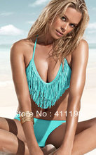 aolover 2013 Hot summer beach  V neck Fringe Top Bikini Padded Boho Tessels  Swimwear Black, white, blue 3 colors 1488(China (Mainland))