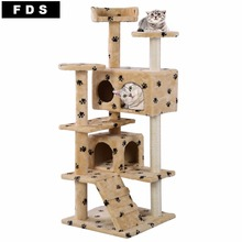 New Cat Tree Tower Condo Furniture Scratch Post Kitty Pet House Play Beige Paws Free Shipping PS5791YEDOG(China (Mainland))