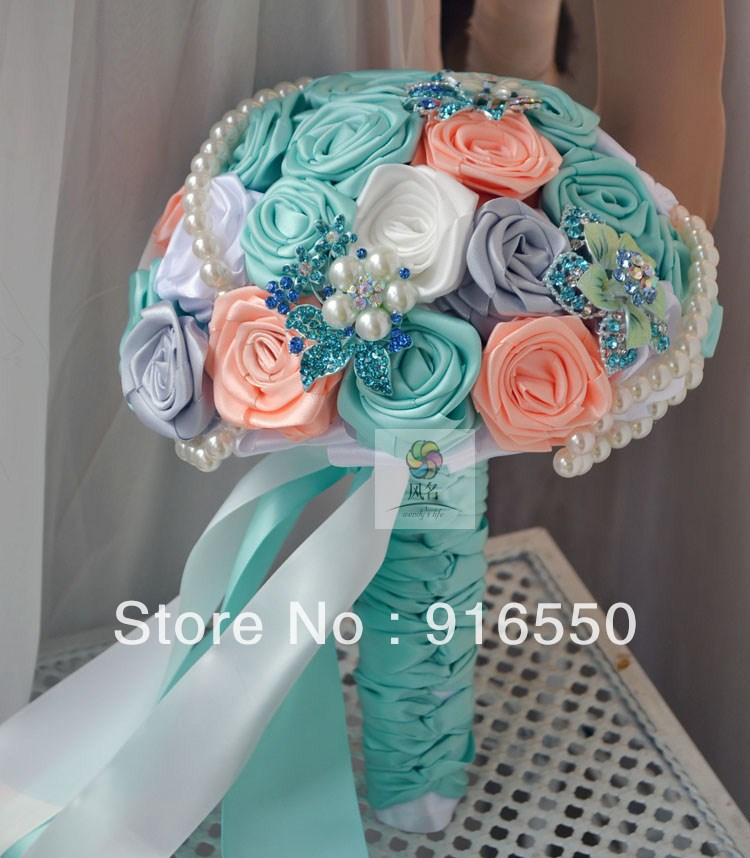 Bridal Bouquet Out Of Ribbons : Aliexpress buy ems free shipping ribbon bouquet