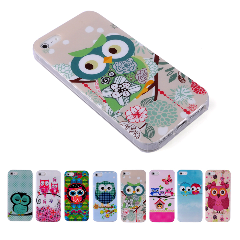 For iPhone 5 5S Cases Cute Owls Cartoon Animal Soft TPU Gel Case Cover for iPhone 5 5S Back Skin Mobile Phone Cases Lovely Cases(China (Mainland))