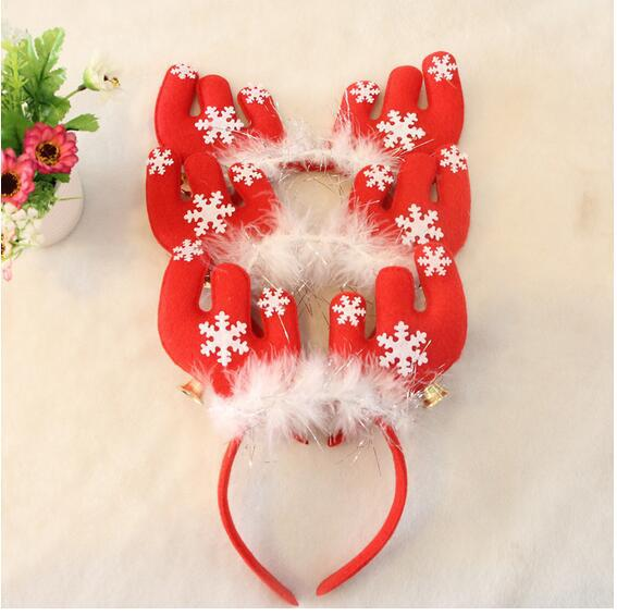 Children dress up Christmas decorations Children feather bell antlers headband hair bands(China (Mainland))