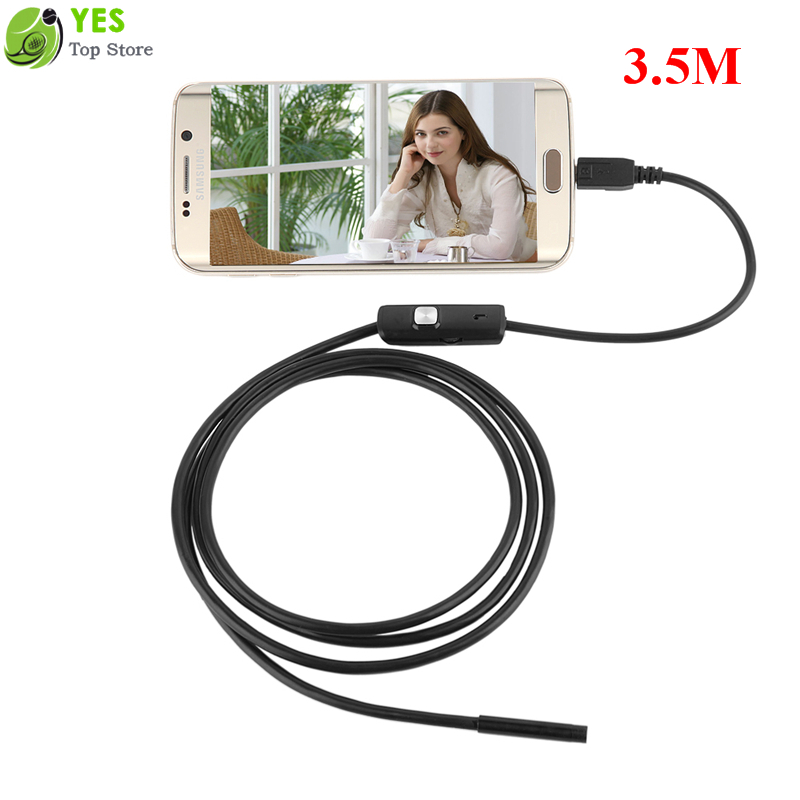 Гаджет  3.5m Waterproof 6LEDs Android Endoscopes Micro USB Inspection Video Camera 720P 5.5mm Snake Borescope Camera for Android & PC None Безопасность и защита