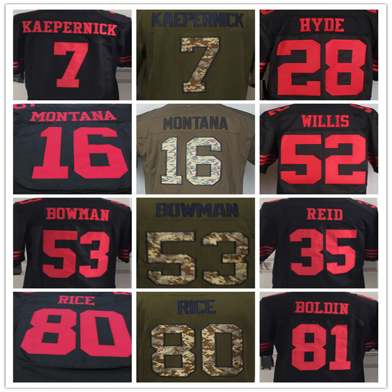 7 Colin Kaepernick 15 Michael Crabtree 16 Joe Montana 35 Eric Reid 52 Patrick Willis 53 NaVorro Bowman 81 Anquan Boldin jersey(China (Mainland))