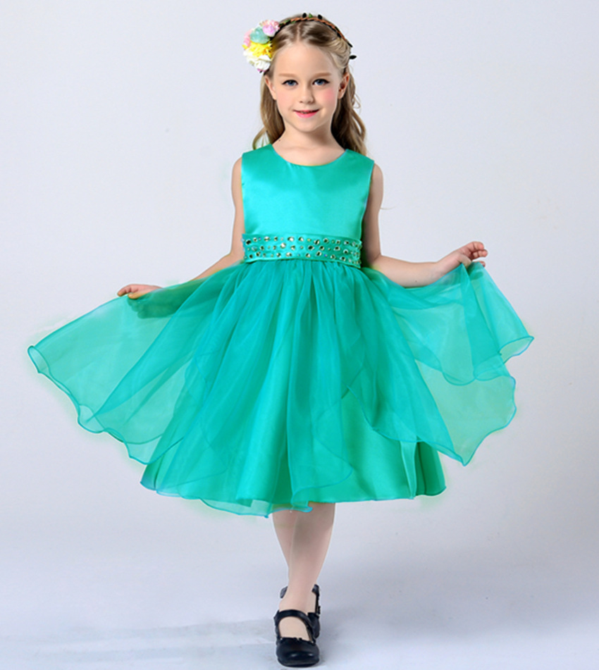 Princess Pink Red Green Navy Blue White Dress For Children Girls 2-12 Years Old Summer 2016 Big Teenage Flower Girls Dress Party(China (Mainland))