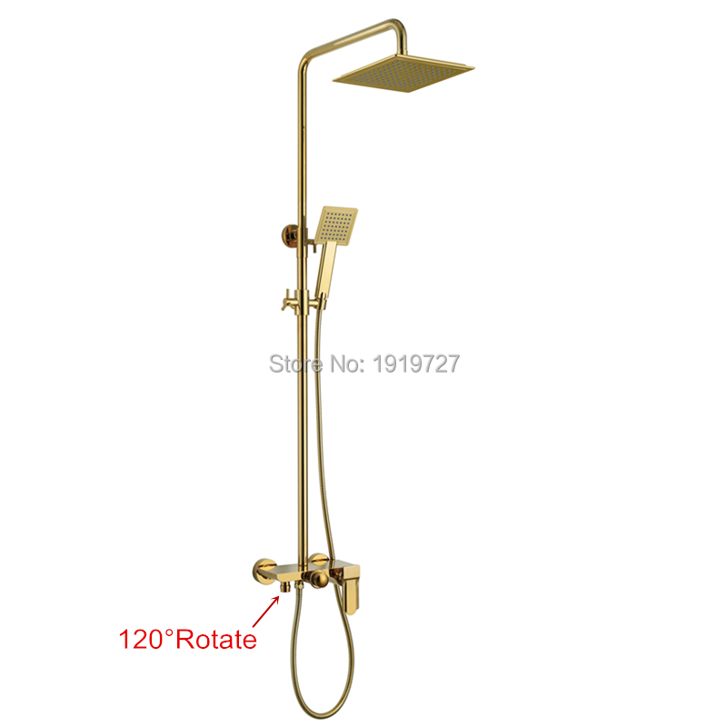 2016 New Bathroom 10 Inch Abs Waterfall Rain Shower Head Brass Gold Black Chrome Exposed Shower Faucet Set(China (Mainland))