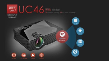 2016 Newest UNIC UC46 WIFI Portable LED Video Home Cinema Projector Laptop PC VGA/USB/SD/AV/HDMI Wireless Mini Pocket Projector