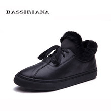 BASSIRIANA-Winter Frau stiefel Schuhe Plüsch dame Trend Baumwolle gepolsterte Schuhe Auto Dame Warme Schuhe Frauen(China)