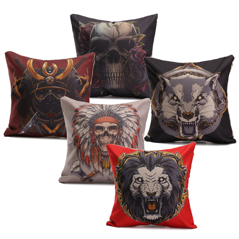 44*44cm Indiana Gothic Style Skull Animal Pattern Linen & Cotton Cushion Cover Home Decorative Pillow Case For Sofa/Bed/Cars(China (Mainland))