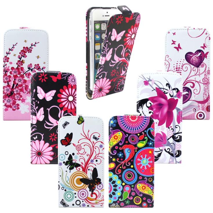 Pretty Flower Pattern Design Leather Flip Up and Down Hard Cover Case For iPhone 4G 4S Stylish Heart Butterfly Holster(China (Mainland))