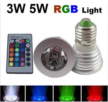 3W 5W E27 RGB LED Spot light Bulb Lamp spotlight 16 Color Changing Colorful Magic Lighting AC85V~265V with IR Remote Controller
