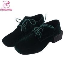 LANMREM 2017 New Spring Korea Fashion Shoes Square Heel Solid Color Lacing-up Corduroy Vamp Women High Quantity B07701(China (Mainland))