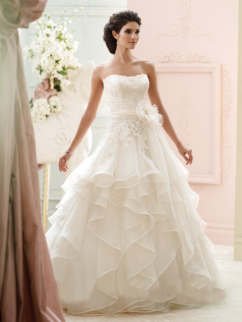 Wedding Dress Lace Flowers : Ivory lace beaded flower belt ball gown wedding dresses bridal gowns