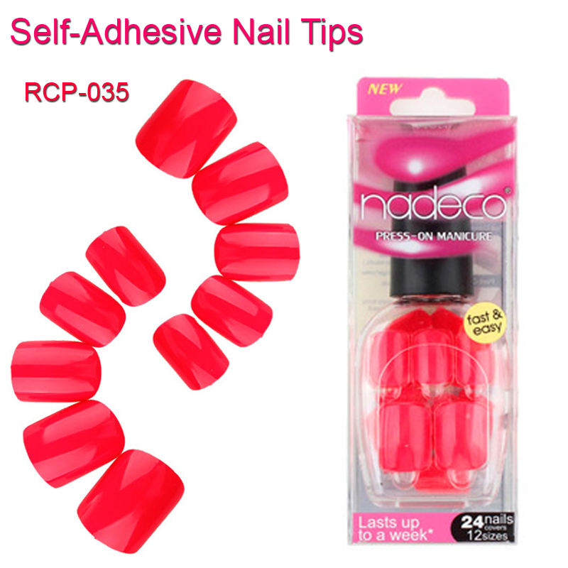 12Sets Full Cover Red Pink Self-Adhesive Fake Nail Polish Tips Pure Color Glued Nails Artificial Rose French Manicure Tip RCP-35(China (Mainland))