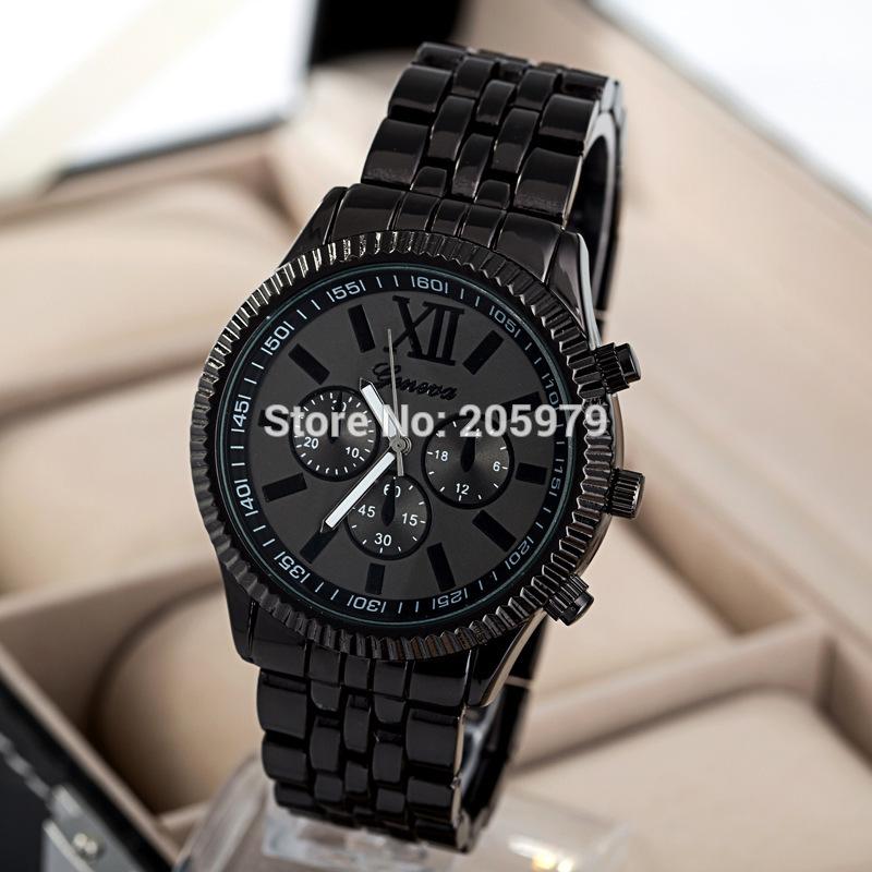 2015 Fashion Watches Men Geneva Brand Watch Gold Full Stainless Steel Men Quartz Watch Wristwatch Relogio Masculino Feminino(China (Mainland))