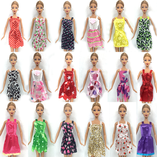 NK Hot Sell One Set=10 Pcs Mix Sorts 2016 Newest Beautiful Handmade Party Clothes Fashion Dress For Barbie Doll Best Gift Toys
