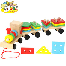 Small Wooden Train And Dragging  Three Carriage Geometric Shape Matching Early Childhood Educational Diecasts Toy Vehicles(China (Mainland))