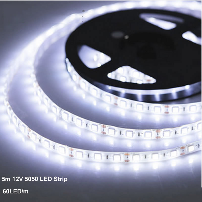 5m/lot IP65 waterproof  5m 300 LED strip 5050 60LED/ m 12V SMD flexible light cold white warm white red blue yellow RGB(China (Mainland))