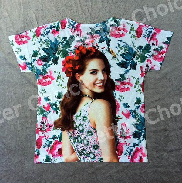 Track Ship+Vintage Retro Cool Rock&Roll Punk T-shirt Top Tee Sweet Model Lana Del Rey Smile Red Flower 0800(Hong Kong)