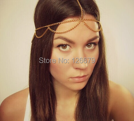 New Fashion Gold Silver Charming Egyptian Head Chain Hair Jewelry Headdress Head Pieces Hairband Metal Chain for Women Wholesale(China (Mainland))