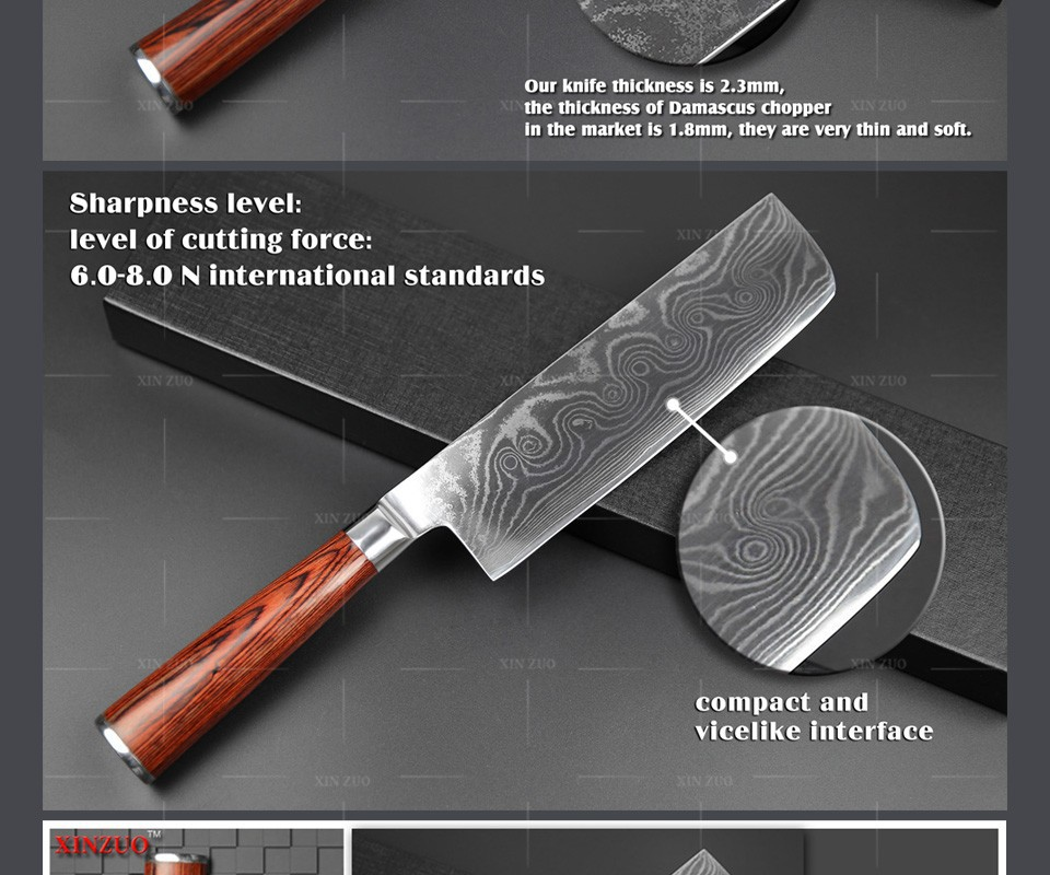 Buy HOT 7 inch chef knife Damascus Steel kitchen Knife 73 Layers VG10 chef Kitchen knife Cook Knives color wood handle free shipping cheap